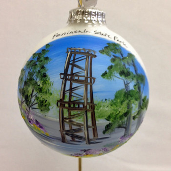 Eagle Tower Glass Ball Ornament
