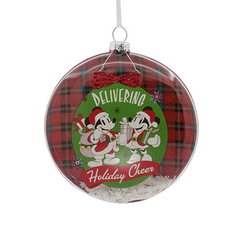 mickey and minnie mouse blown glass christmas ornament