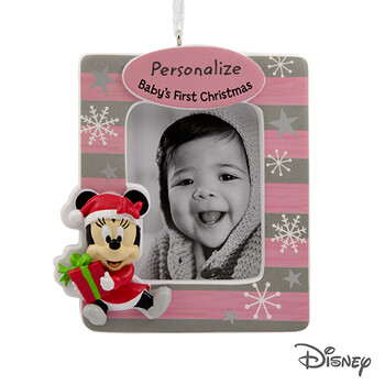 Disney Minnie Mouse Baby's First Christmas Personalized Photo Frame Christmas Ornament