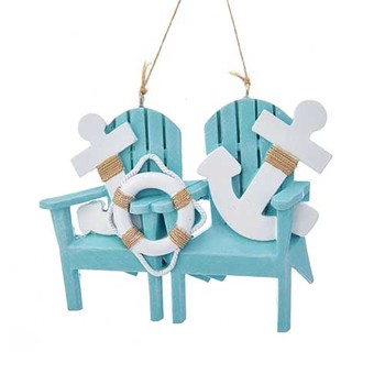 Adirondack Chair With Anchor Family Of 2 Ornament For Personalization