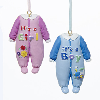 Painted Baby Pajamas Hanging Ornament 2 Assorted
