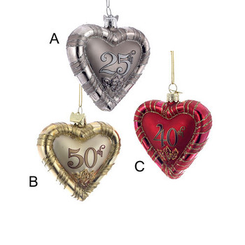 Noble Gems(tm) Anniversary Heart Ornaments 3 Assorted
