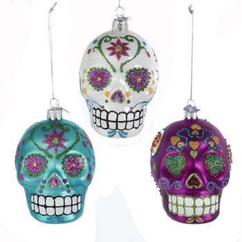 Sugar Skull Ornament 3 Assorted