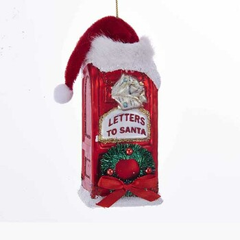 Mailbox With Santa Hat Glass Ornament