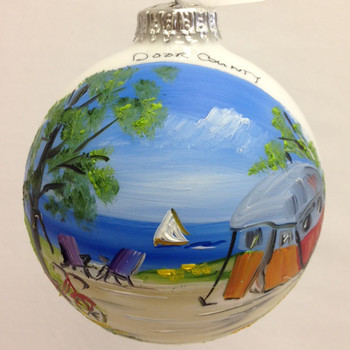 Camping in Door County Glass Ball Ornament