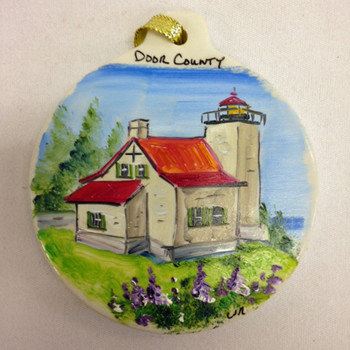 Door County Eagle Bluff Lighthouse Flat Ornament