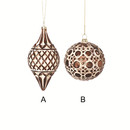 Glass Copper White Wash Ornament