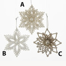 Platinum Glittered Snowflake Ornament 3 Assorted