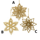 Champagne Gold Glittered Snowflake 3 Assorted
