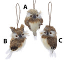 Brown Hanging Owl Ornament 3 Assorted