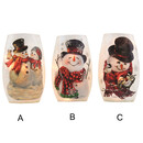 Lit Glass Oval With Snowman 3a