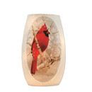 Lit Small Glass Vase Cardinal