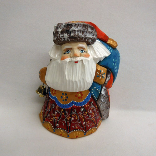 Santa With Bell & Blue Bag