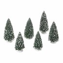 Village Accessories- Frosted Pine Grove, Set Of 6