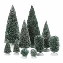 Village Accessory- Bag-o-frosted Topiaries Set Of 10