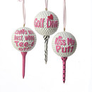 Lady Golf Ball Ornament 3 Assorted