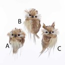 Brown With White Fur Hanging Owl Ornaments