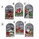Metal Retro Christmas Tag Ornaments 6 Assorted
