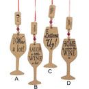 Wooden Cork Wine Glass Ornaments 4 Assorted