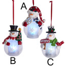 Battery-operated Light-up Snowman Ornament