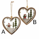 Heart With Snowman And Santa Cut-out Ornament