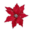 Red And Silver Poinsettia With Clip