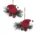 Red Cardinal With Pinecone And Berry Ornaments