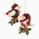 North Land Bird On Berry Leaves Ornaments 2 Assorted