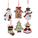 Claydough Santa, Snowman, Angel, House, Tree & Sock Ornaments 6 Assorted
