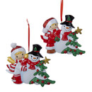 Little Boy & Girl Making Snowman Ornaments 2 Assorted