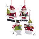 Red And Green Santa And Snowman Ornament
