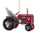 Red Tractor With Christmas Tree Ornament