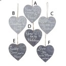 Wooden Grey Lace Heart With Sentiment Ornaments