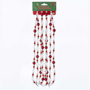 Red, Silver And Clear Round Faceted Bead Garland