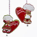 Gingerbread Sweet Grandson And Granddaughter Ornaments 2 Assorted