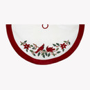 Red And White With Cardinals Applique Velvet Tree Skirt