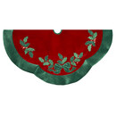 Red With Green Leaves Applique Velvet Tree Skirt