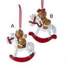 Gingerbread Boy And Girl On Rocking Horse Ornament For Personalization