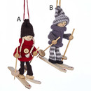 Girl And Boy Skier Ornaments