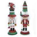 Hollywood Red & Green Tree & Star Snowflake Hat Nutcrackers 2 Assorted