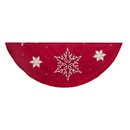 60-inch Red Snowflake Embroidered And Pleated Tree Skirt