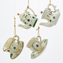 Porcelain Irish Cup & Teapot Ornaments 4 Assorted