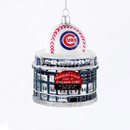 Glass Chicago Cubs Wrigley Field With Baseball Figural Ornament