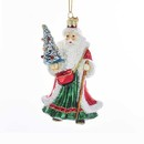 Glass Traditional Santa Ornament