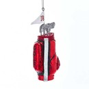 Glass Red And Black Golf Bag Ornament