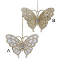 Acrylic Platinum Glitter Butterfly Ornament