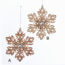Rose Gold Snowflake Ornaments 2 Assorted