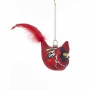 Cardinal With Pinecone Design Glass Ornament