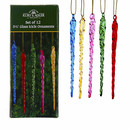 Multi-color Glass Icicle Ornaments, 12-piece Box Set
