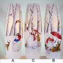 Lit Tall Vase Snowman With Deer 3a